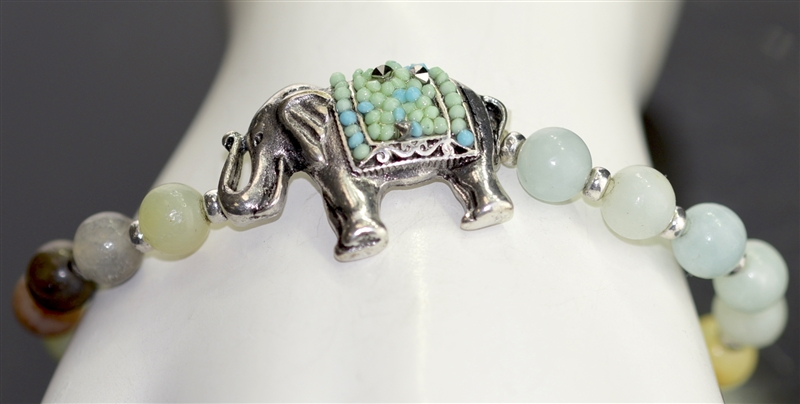 QB-5983 NATURAL STONE/ANTIQUE ELEPHANT STRETCH BRACELET