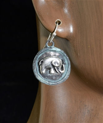 QE-3161 HAMMERED ELEPHANT EARRING