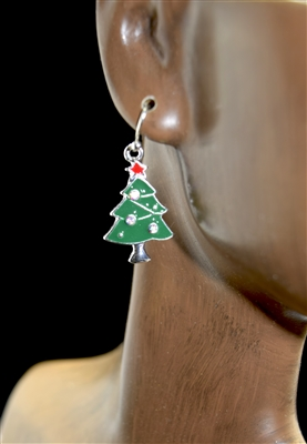 QE-3267SL Christmas Tree Earrings