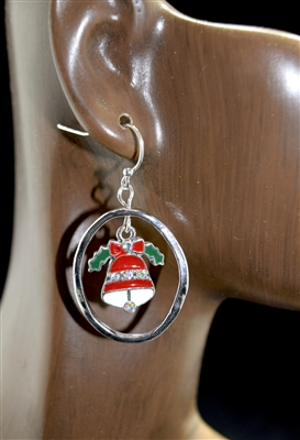 QE-3269SL Christmas Bell Hoop Earrings