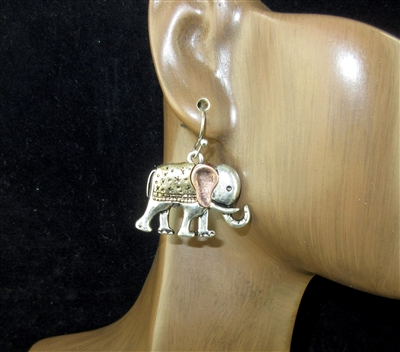 QE-5316 HAMMERED ANTIQUE ELEPHANT EARRINGS