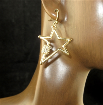 QE1729 ANTIQUE RHINESTONE OPEN STAR EARRINGS