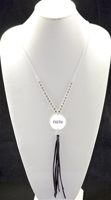 "QN341 HAMMERED BEADED ""FAITH"" TASSEL NECKLACE"