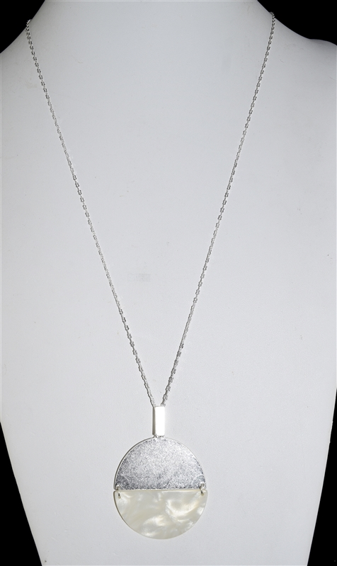 QN4024 SILVER CIRCLE CHAIN ACRYLIC NECKLACE