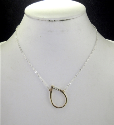 QN4072 HAMMERED SIDEWAYS TEARDROP SHORT NECKLACE