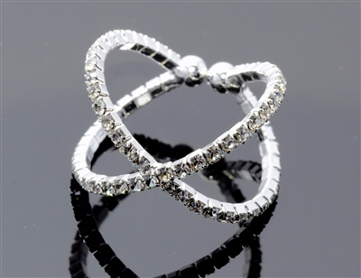 R1379CR-S  RHINESTONE MEMORY WIRE 2 LINE/CROSSING RING