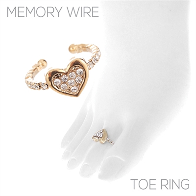 R1450TCR HEART RHINESTONE TOE RING