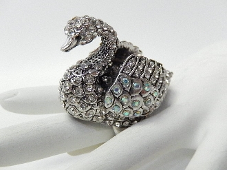 RSW123 RHINESTONE SWAN STRETCH RING