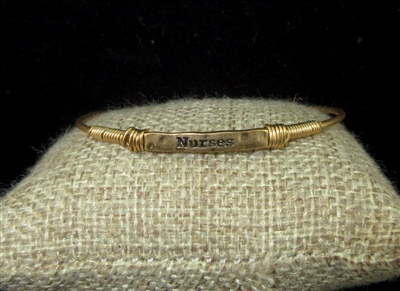 "SB1018 HAMMERED THIN ""NURSES"" INSPIRATIONAL BRACELET"