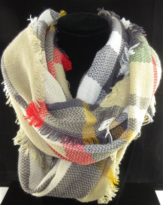 SC0008 PLAID MULTI COLOR SCARF