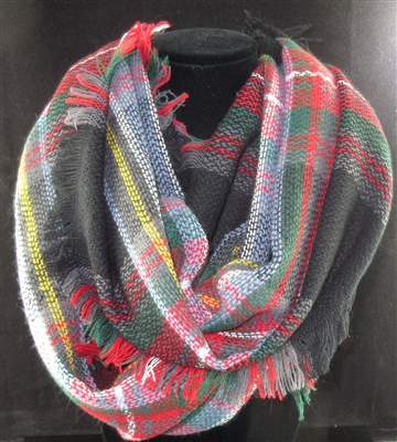 SC0010 PLAID MULTI  COLORS BLACK SCARF