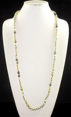 "SC368BEAM 36"" 8MM BEIGE CRYSTAL & AMAZONITE STONE NK"