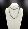 "SC368GYDG 36"" 8MM GRAY CRYSTAL & LIGHT GRAY STONE NECKLACE"