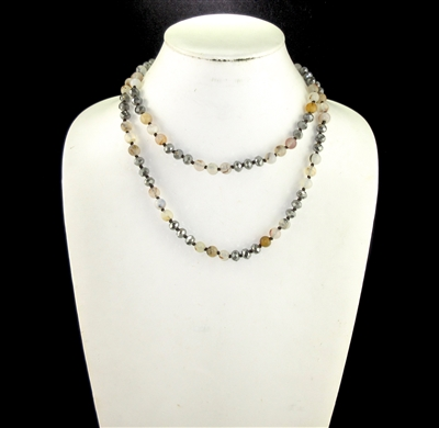 "SC368NTMC 36"" 8MM POLISHED NATURAL STONE & MOCHA CRYSTAL NECKLACE"