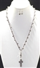SJNE1065 CRYSTAL KNITTED RHINESTONE CROSS NECKLACE SET