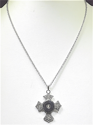 SN002 CROSS SNAP BUTTON NECKLACE