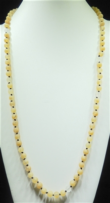 "SN368BE 36"" 8MM BEIGE SEMI-PRECIOUS STONE NECKLACE"