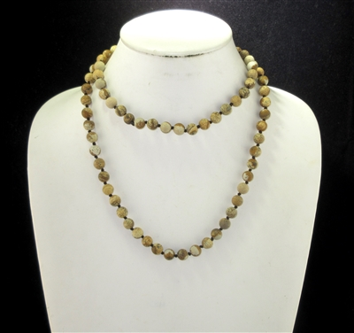 SN368BR 36'' 8MM BROWN SEMI PRECIOUS STONE NECKLACE