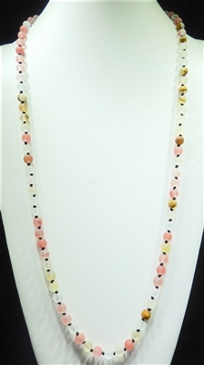 SN368CP 36'' 8MM CLEAR PINK SEMI PRECIOUS STONE NECKLACE