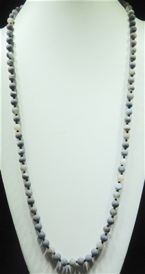 SN368LC 36'' 8MM MATTE CHARCOAL SEMI PRECIOUS STONE NECKLACE