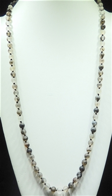 SN368LG 36'' 8MM CLEAR GRAY SEMI PRECIOUS STONE NECKLACE