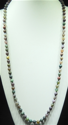 SN368MT 36'' 8MM EARTHY GREEN SEMI PRECIOUS STONE NECKLACE