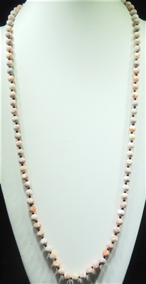 SN368RS 36'' 8MM ROSY SEMI PRECIOUS STONE NECKLACE