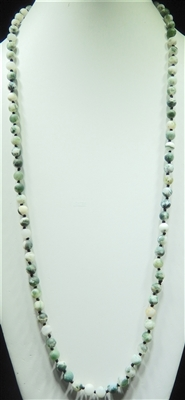 SN368SG 36'' 8MM SANDED GREEN SEMI PRECIOUS STONE NECKLACE