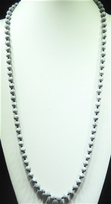 "SN368SMG 36"" 8MM SOFT MARBLED GRAY SEMI-PRECIOUS STONE NECKLACE"