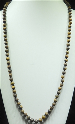 SN368TE 36'' 8MM TIGER EYE SEMI PRECIOUS STONE NECKLACE