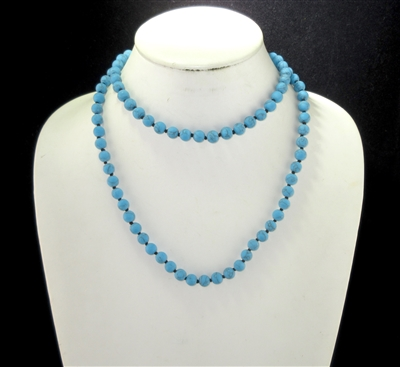 "SN368TQ 36"" 8MM TURQUOISE SEMI-PRECIOUS STONE NECKLACE"