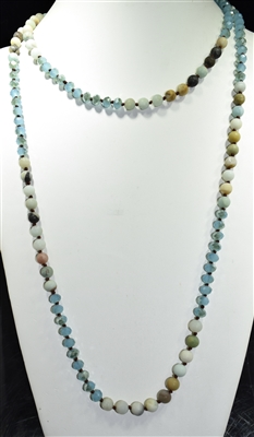 "SN608BLAM 60"" 8MM CRYSTAL & AMAZONITE STONE NECKLACE"