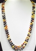 "SN608DOM 60"" 8MM DARK ORANGE MULTI SEMI PRECIOUS STONE NECKLACE"