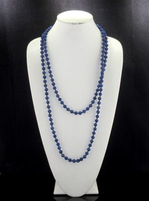 "SN608IGB 60"" 8MM BLUE INDIGO SEMI PRECIOUS STONE NECKLACE"