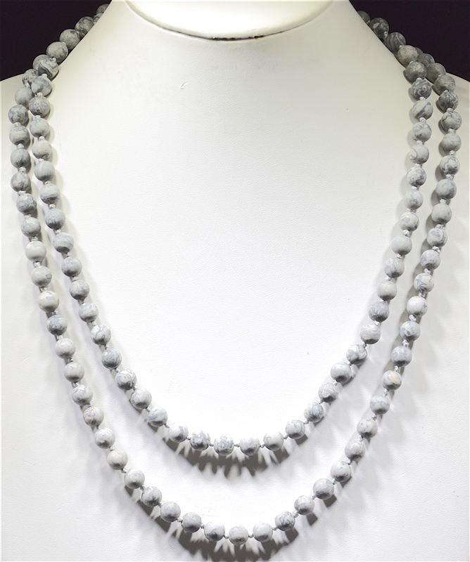 "SN608LG 60"" 8MM LITE GRAY SEMI PRECIOUS STONE NECKLACE"