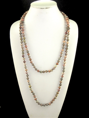 "SN608MYR 60"" 8MM MUDDY RED STONE NECKLACE"