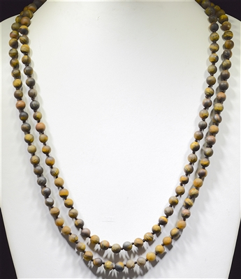 "SN608TE 60"" 8MM TIGER EYE SEMI PRECIOUS STONE NECKLACE"