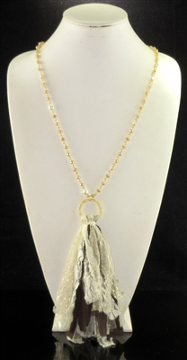 SN8253 CRYSTAL BEADED ANTIQUE FABRIC TASSEL NECKLACE