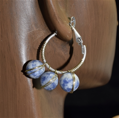 TE0656 NATURAL STONE HOOP EARRINGS