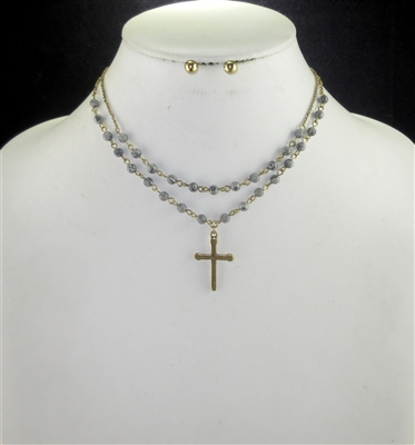 TNE0261 STONE BEADED HAMMERED GOLD CROSS SHORT NK SET
