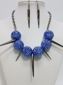 VPN0039 CRYSTAL BALL SPIKE NECKLACE SET