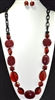 XN-776 ACRYLIC CHAIN LINK RED NECKLACE SET