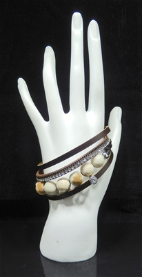 YB234 4 LAYER BEADED STONE MAGNETIC BRACELET