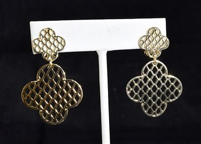 YE10009 CLOVER HONEYCOMB PATTERN CLIP-ON EARRINGS