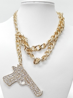 YN1058 CHAIN GUN NECKLACE