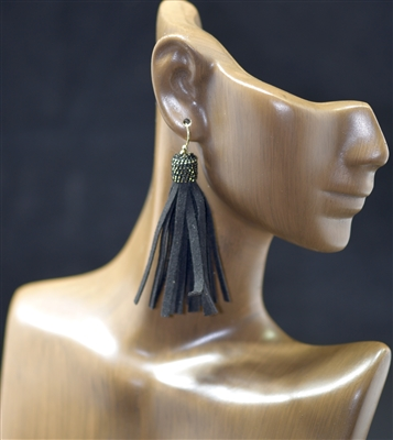 ZE1377 SMALL ANTIQUE SUEDE TASSEL EARRINGS