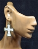 ZQE1418 RHINESTONE SILVER CROSS EARRINGS