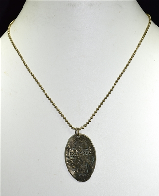"ZQN2809 ""BLESSED"" HAMMERED SPOON NECKLACE"