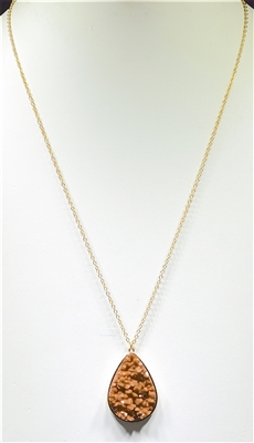 ZQN3303 CRYSTAL TEARDROP NECKLACE