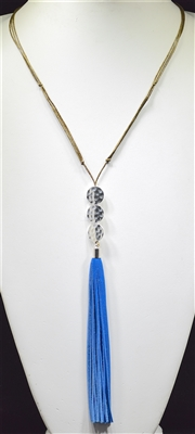 ZQN3331 HAMMERED CIRCLES TASSEL NECKLACE